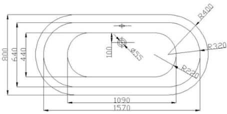 schéma dimesionnel de la baignoire ilôt copenhagen